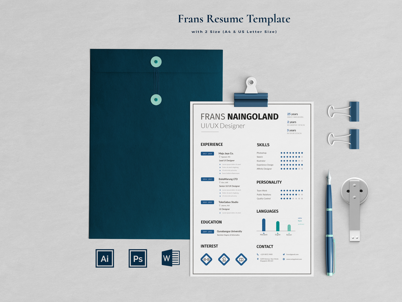 Resume 2 Pages Naingoland By Blancalab Studio On Dribbble