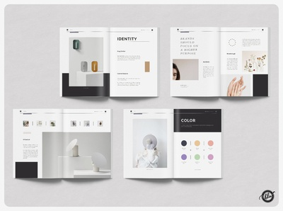 MANDALA Brands Manual & Guidelines feminine guidelines manual branding brand magazines template product style print ready photography minimalist minimal us letter a4 indesign fashion editorial lookbook magazine