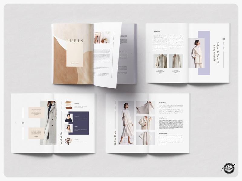 SUITPEA Fashion Magazine & Lookbook book simple professional fashion feminine minimal us letter indesign template layout indesign editorial a4 size template design print design modern layout design templates minimalist
