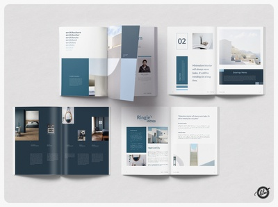 RINGLE Architecture Magazine magazine design publisher interior design blue and white clean minimal layout ebook architecture interior magazine professional indesign editorial a4 size template design print design modern layout design templates minimalist