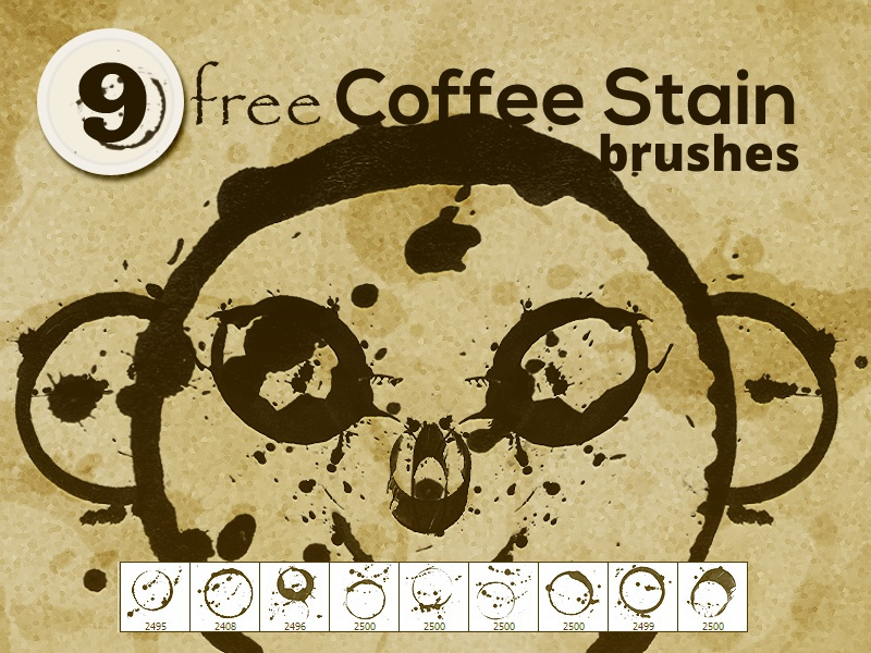 Free Coffee Stain Photoshop brushes resources brush photoshop free freebie coffee brown freebies