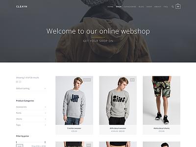 Cleayn - WIP (nearing completion) playne woocommerce commerce theme wordpress