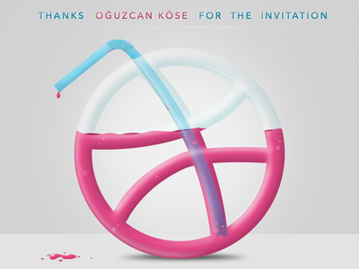Hello Dribbble drink straw pipette first shot debut thank you dribbble hello