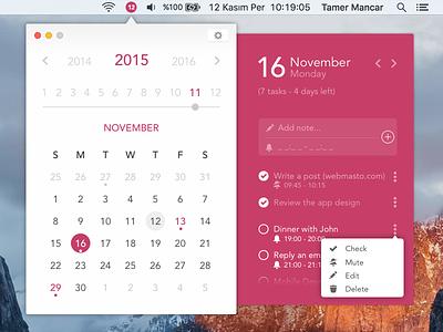 Desktop Calendar App UI Concept day month year date note os mac desktop concept ui calendar