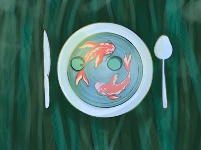 Golden fish illustration illustration graphic design icon
