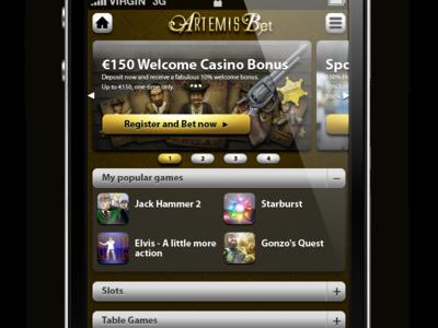 Artemis Mobile Casino Lobby
