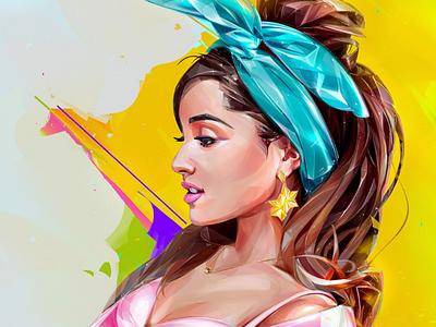 Ariana Grande cover music design background illustration portrait