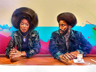 BLACKKKLANSMAN cover art background illustration design portrait