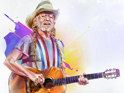 Willie Nelson Grammy 2019 portrait illustration
