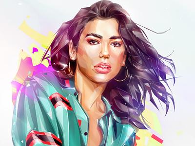 Dua Lipa. Grammy 2019. illustration portrait