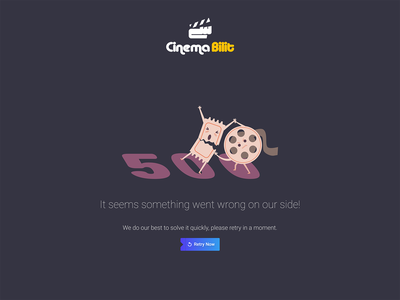 Dark UI 500 Error Page uiux ui design illustration uidesign tickets movies
