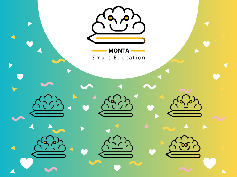 Monta Brand Re-Design brain cloud colorful education logo rebrand