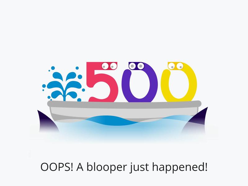 Error 500! madewithadobexd colorful error page error 500