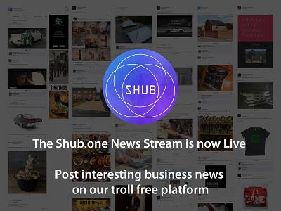 Shub.one Business Social Media News Stream branding crowdfunding designer freelancer portfolio influencer blogger campaign startups business social media socialmedia
