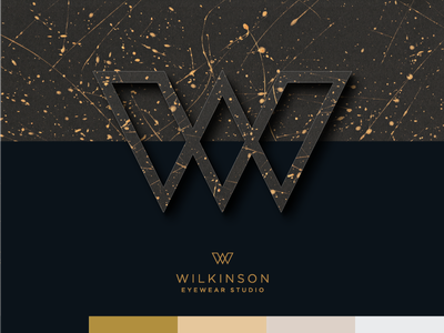 Wilkinson opticians metallic optician eyewear logotype logo brand branding