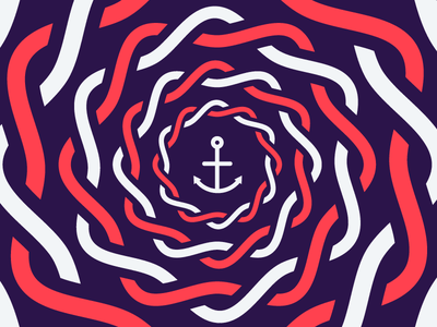 Anchors aweigh! blue white red rope anchor nautical