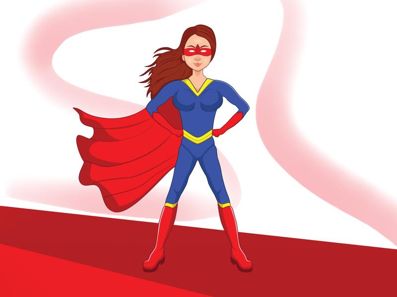 Comic-Super Girl identity mascot logo illustration branding animation vector mascot character logo design cartoon character