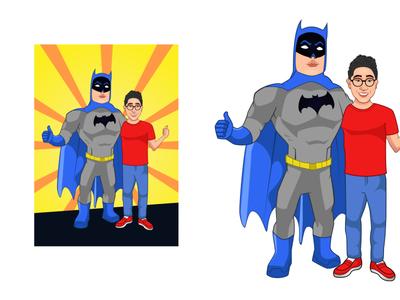 Comic Poster-Batman With Fan creative dccomics drawing sketching cartoon character illustration vector branding animation character design batman poster comic