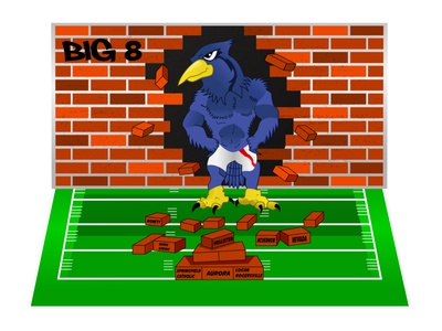 Breaking Bluejay in American Football cartoon illustration drawing football american football bluejay comic poster art poster design poster cartoon design vector