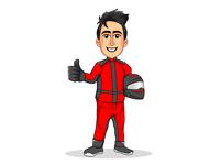 Character Design-Racing For Life cartoon design cartoon character illustration artwork characterdesign design sketching drawing freestyle comic driver car driver racing