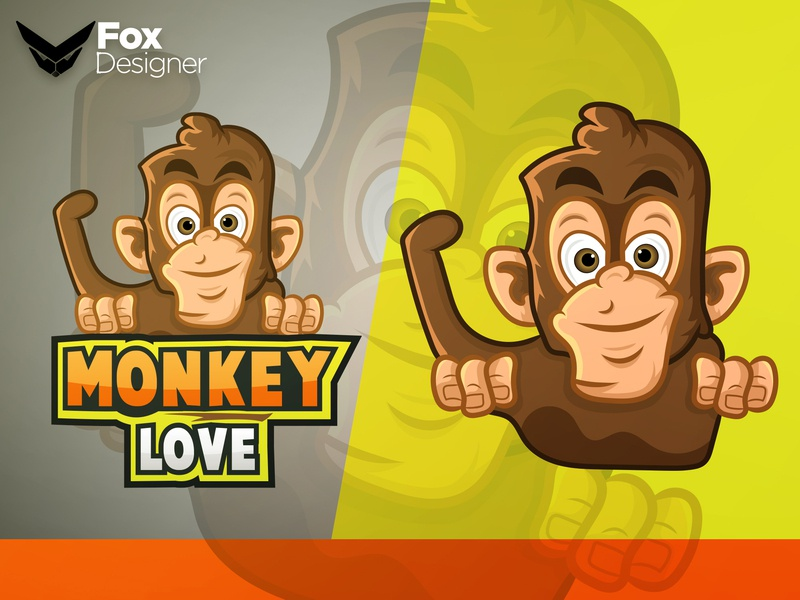 Monkey Love branding design typography vector logo cartoon design mascot logo mascot design mascot character mascot cartoon character