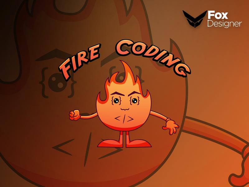 Fire Coding illustration icon branding identity animation illustrator vector typography design mascot logo logo cartoon design mascot design mascot character mascot cartoon character