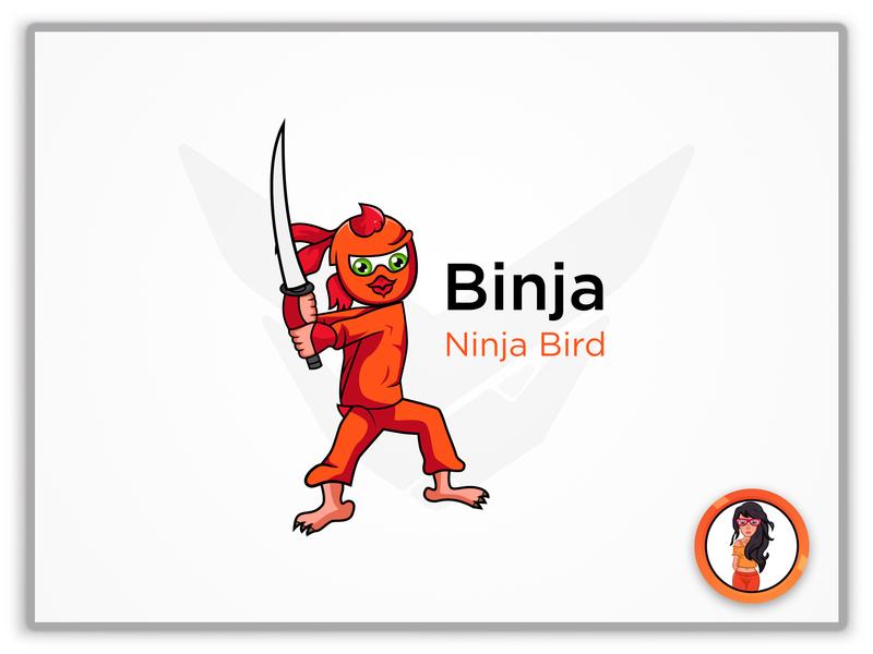 Binja Logo character icon web minimal app illustrator illustration identity animation branding design logo vector typography mascot design mascot logo mascot character cartoon design mascot cartoon character
