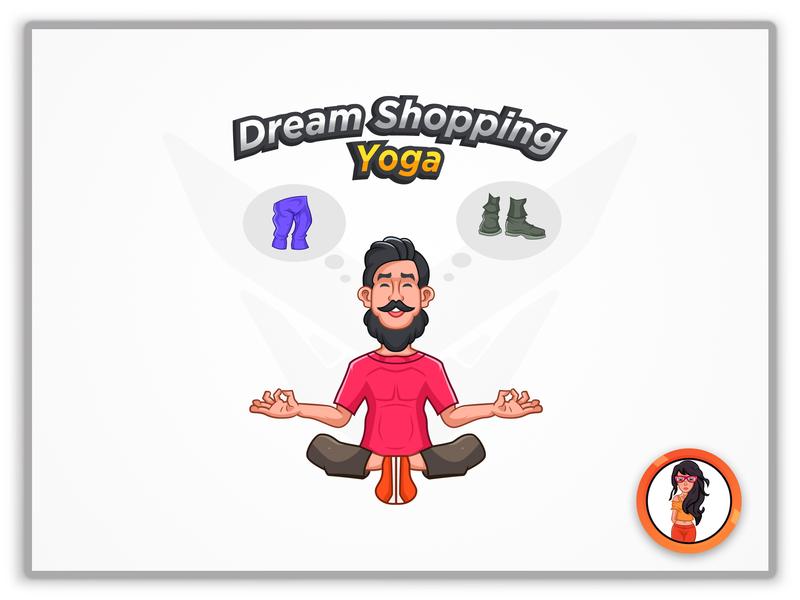 Dream Shopping Yoga Logo flat character minimal web icon illustration identity illustrator animation design branding typography vector logo mascot design mascot logo mascot mascot character cartoon design cartoon character