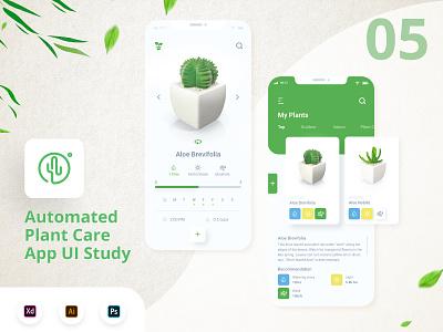Plant Care App vector ux ui minimal logo illustration flat design branding app