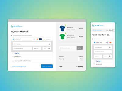 Blueflame Credit Card Checkout - Daily UI Challenge