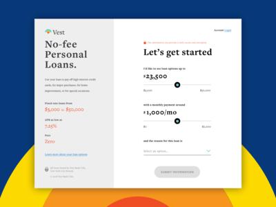 Vest Loan Calculator Landing Screen - Daily UI Challenge