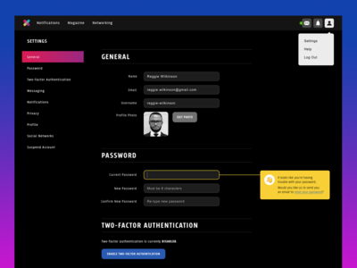 Cross Settings Screen - Daily UI Challenge