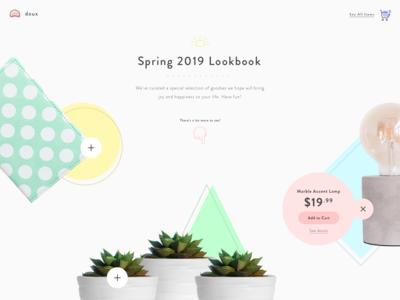 Doux Spring 2019 Lookbook Landing Screen