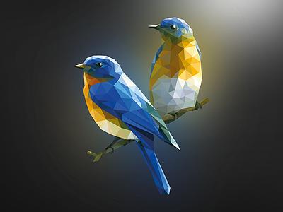 Bluebirds digital art shapes polygon polygonal colour bird parrot bluebird illustration