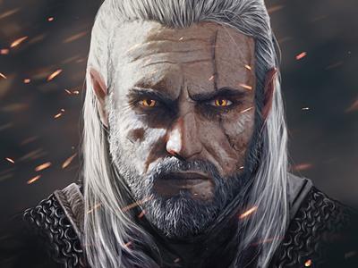 Geralt portrait illustration fanart inspiration characters illustration digital art digital painting digital illustration
