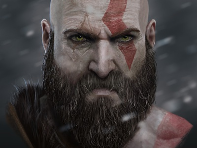 kratos greek mythology fanart portrait illustration portrait god of war characters illustration digital art digital painting digital illustration