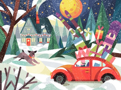 Car with presents flat artist illustration vector 2d winter digitalart illustrator digital character art