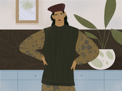 Lovely girl minimal flat digital design illustration illustrator digitalart character artist art