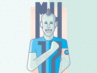 MH17 - Marek Hamsik tatoo character illustration vector flat sport football soccer naples napoli hamsik