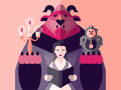 the beauty and the beast belle lumiere beast beauty illo graphic vector illustration