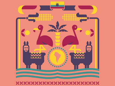 Festival de Yamor lama flamingo ecuador illo graphic vector illustration