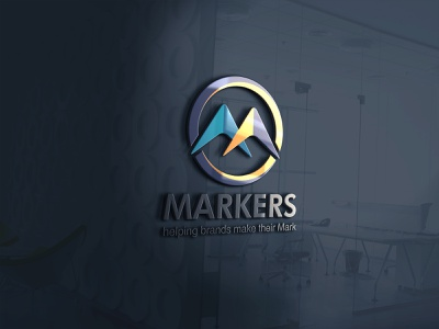 Markers brand abstract minimal typography logo design illustration corporate 2d dribble company branding business flat logo design