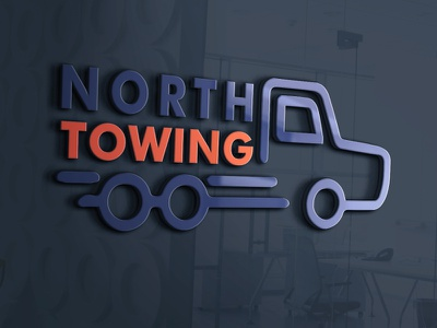 North Towing logo design minimal corporate dribble company branding business flat logo design