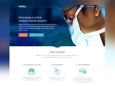 MNOW Landing Page web design clean modern simple