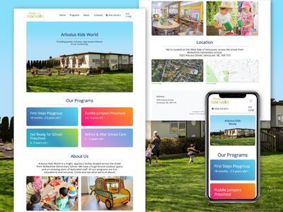 Website for Child Centre in Vancouver branding photography webdesign