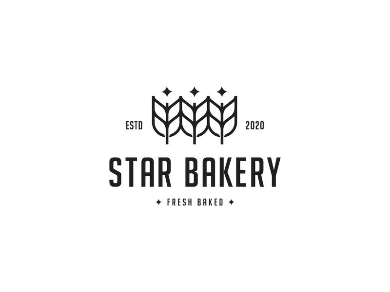 Star Bakery symbol bread design identity logotype simple flat minimal mark logodesign wheat logo food brand bakery