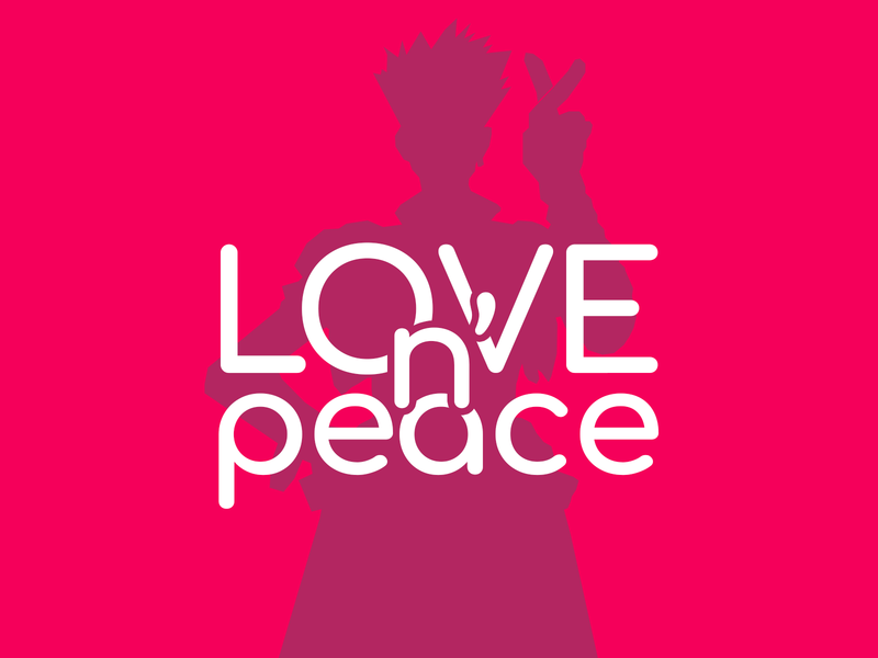 love&peace! artwork peace love graphic valentinesday vash the stampede trigun anime typogaphy typo art