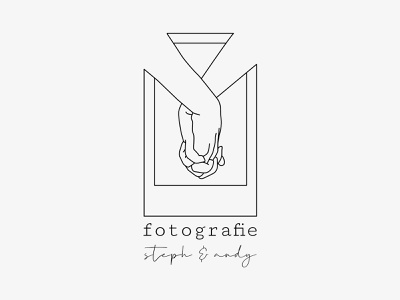 steph & andy - logo holding hands photographer photography polaroid hands romantic vector design minimal branding logo