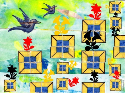 FOArtista, Illustration. Garden with Birds.