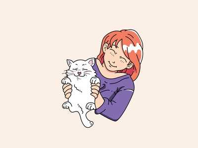 Cat with girl
